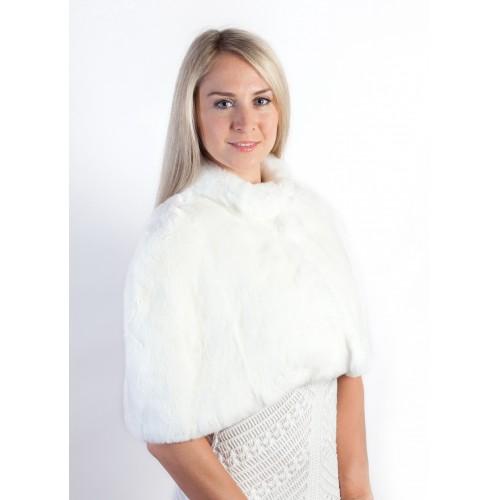 5b9c3e269 White Rex Rabbit Fur Shawl | Bridal Real Fur Stoles at Weddingfur