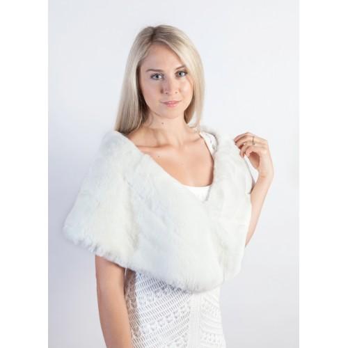 e0376ee6c White Rex Rabbit Fur Stole | Bridal Handmade Fur Stoles at Weddingfur