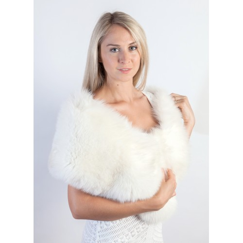 White Fur Stole >> Luxury White Fox Fur Shawl Bridal Real Fur Stoles At Weddingfur