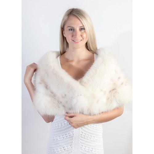 Handmade white fox fur wrap bridal real fur shawls at weddingfur - Polsterstoffe fur stuhle ...